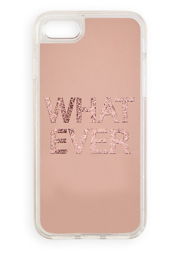 Whatever Glitter Graphic iPhone Case,ROSE,large