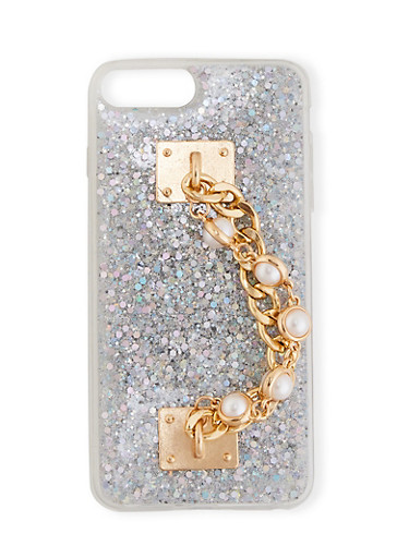 Glitter Chain Phone Case,SILVER,large