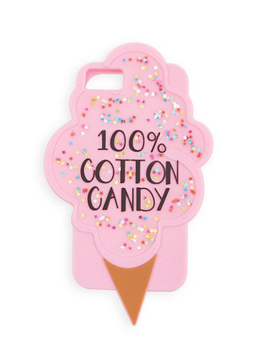 100% Cotton Candy Silicone iPhone Case,PINK,large