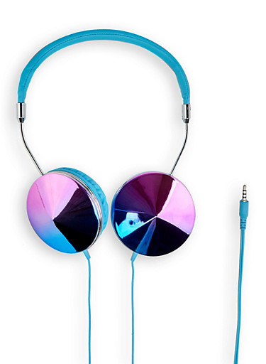 Iridescent Shimmer Headphones | 1120066844444,BLUE,large