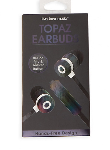 Iridescent Earbuds,BLACK,large