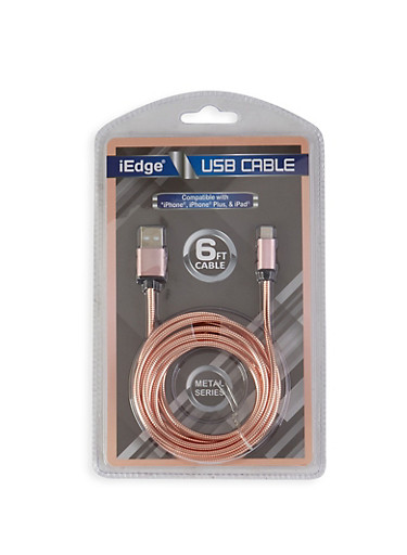 Six Foot USB Charging Cable,ROSE,large