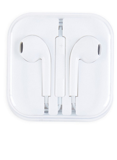 Plastic Earbuds,WHITE,large