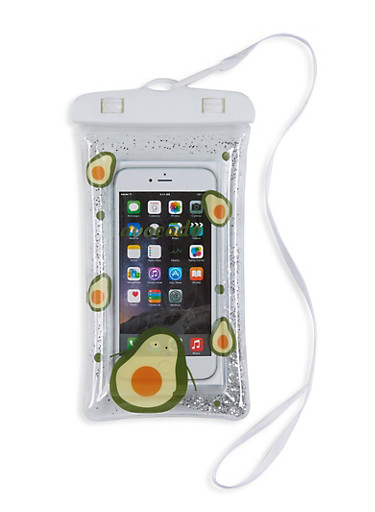 Printed Waterproof Phone Pouch with Lanyard,GREEN,large