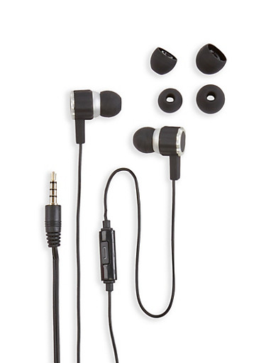 Two Tone Earbuds with Microphone,SILVER,large