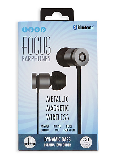 Metallic Magnetic Wireless Bluetooth Earphones,BLACK,large