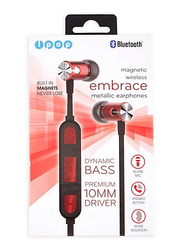Bluetooth Metallic Earphones,RED,large
