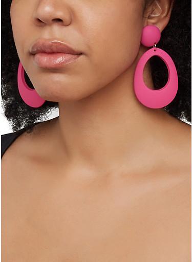 Matte Neon Oval Drop Earrings,NEON PINK,large