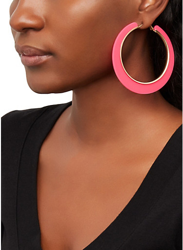 Metallic Trim Hoop Earrings,NEON PINK,large