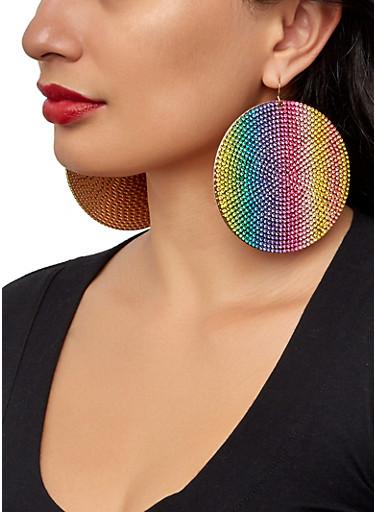 Rhinestone Large Disc Earrings,MULTI COLOR,large