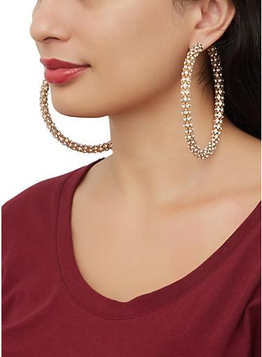 Large Rhinestone Wrapped Hoop Earrings,GOLD,large