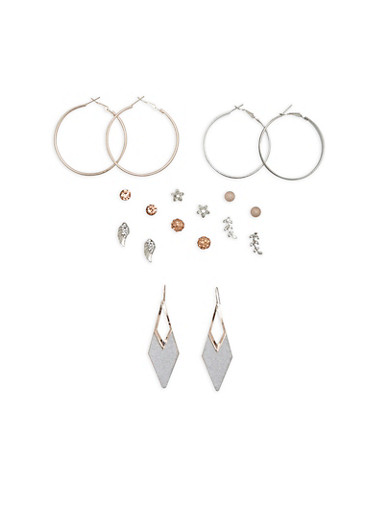 Set of 9 Glitter and Rhinestone Earrings,SILVER,large
