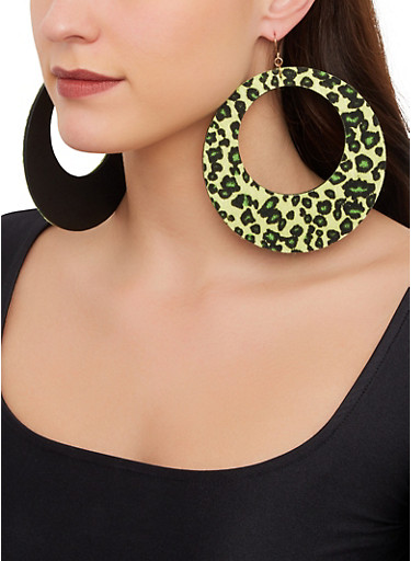 Oversized Round Leopard Drop Earrings,GREEN,large