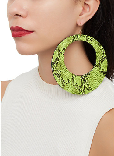 Oversized Snake Print Drop Earrings,GREEN,large
