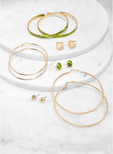 Snake Print Stud and Hoop Earrings Set,GREEN,large