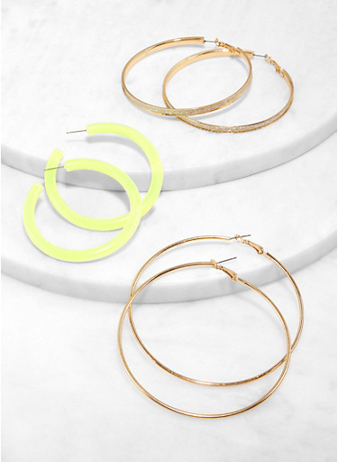 Assorted Neon Hoop Earring Trio,GREEN,large