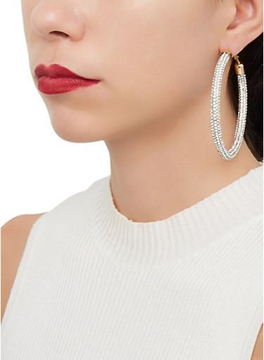 Rhinestone Tube Hoop Earrings,MULTI COLOR,large