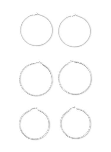 Large Textured Metallic Hoop Earrings,SILVER,large
