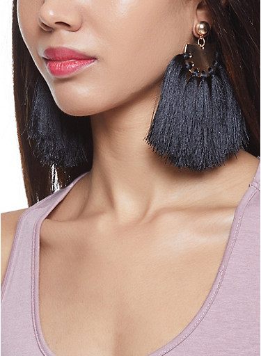 Large Tassel Disc Earrings,BLACK,large
