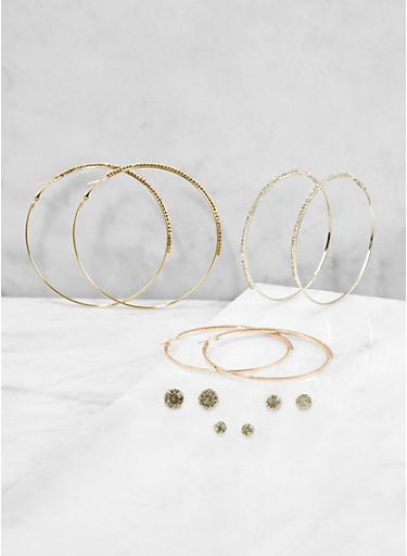 Assorted Rhinestone Stud and Hoop Earrings,TRITONE (SLVR/GLD/HEMAT),large