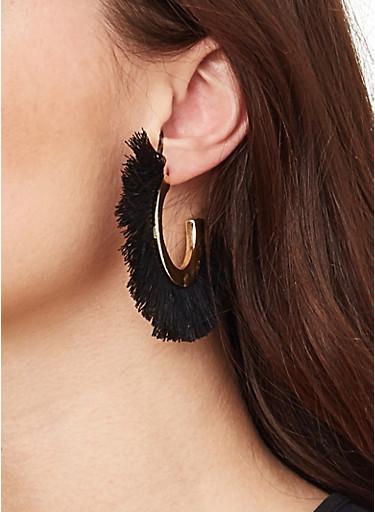 Half Hoop Fringe Earrings,BLACK,large