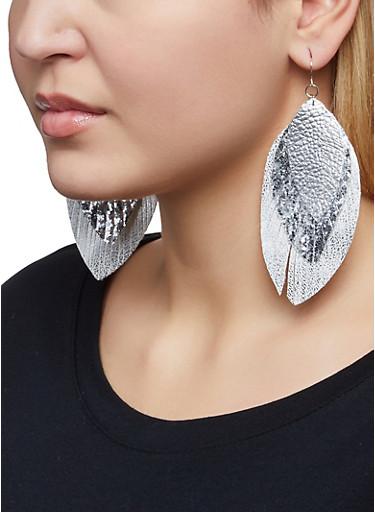 Triple Leaf Drop Earrings,SILVER,large