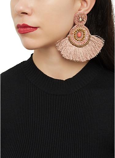 Beaded Double Circle Fringe Drop Earrings,MAUVE,large