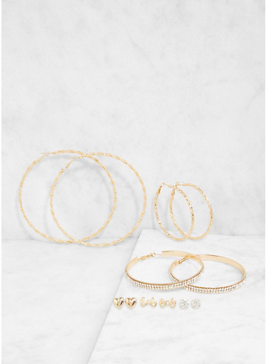 Set of 6 Assorted Hoop and Stud Earrings,GOLD,large