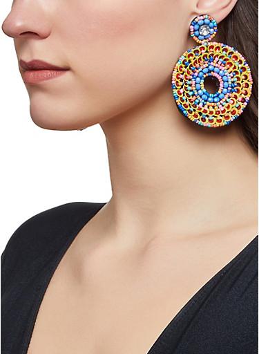 Beaded Sequin Felt Earrings,MULTI COLOR,large