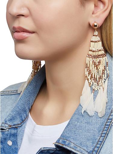 Multi Beaded Feather Drop Earrings,TAN,large