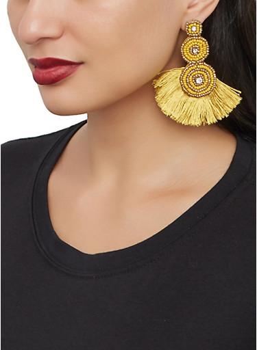 Beaded Fringe Drop Earrings,MUSTARD,large