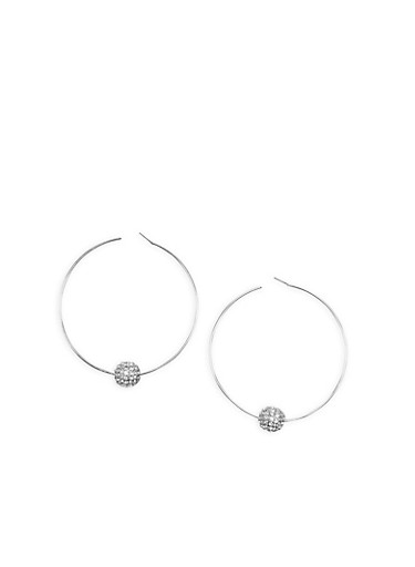Large Hoop Earrings with Rhinestone Bead Accent,SILVER,large