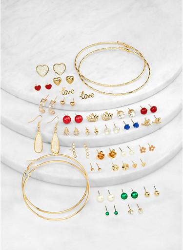 Set of 30 Assorted Earrings,COBALT,large