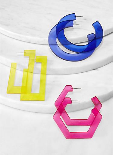 Plastic Geometric Earring Trio,MUSTARD,large