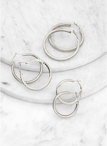 Textured Tubular Hoop Earrings Set,SILVER,large