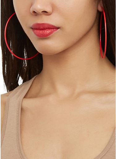 Set of 6 Metallic Assorted Hoop and Stud Earrings,RED,large
