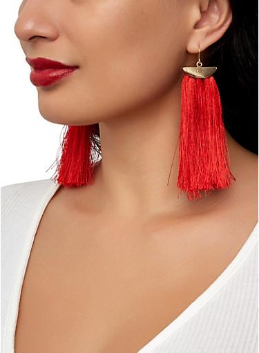 Fringe Tassel Drop Earrings,RED,large