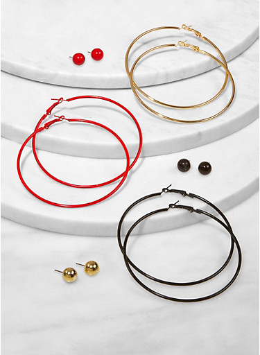 Ball Stud and Hoop Earring Trio,RED,large