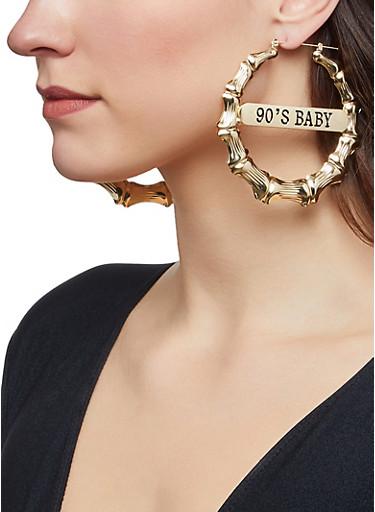90s Baby Metallic Bamboo Earrings,GOLD,large