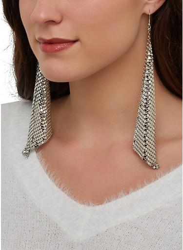 Metallic Mesh Drop Earrings,SILVER,large