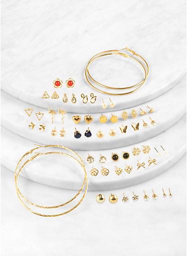 Assorted Metallic Studs and Hoop Earrings Set,NAVY,large