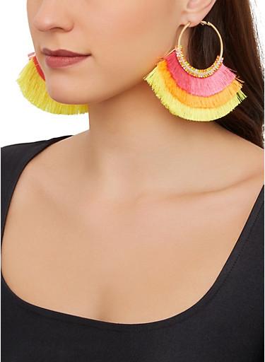 Triple Layer Fringe Fan Earrings,LIME,large