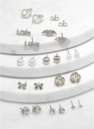 Assorted Metallic Heart Stud Earrings,SILVER,large