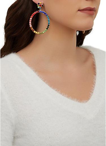 Circular Rhinestone Drop Earrings,MULTI COLOR,large