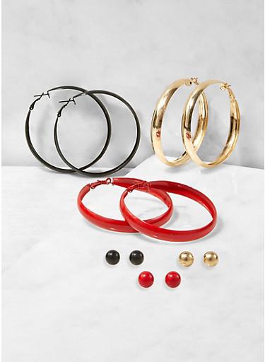 Hoop and Stud Earrings Trio,RED,large