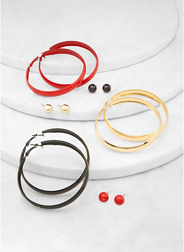 6 Assorted Thick Hoop and Stud Earrings,RED,large
