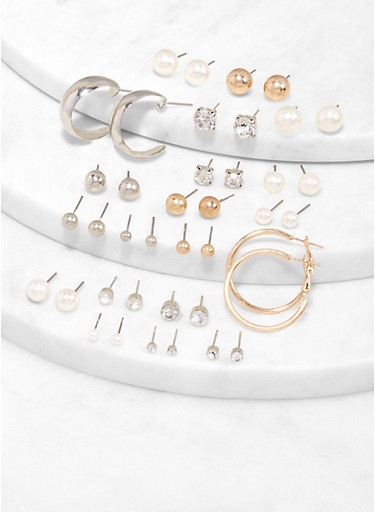 Assorted Stud and Hoop Earrings,TRITONE (SLVR/GLD/HEMAT),large