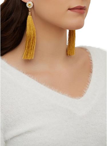 Circle Rhinestone Tassel Earrings,MUSTARD,large