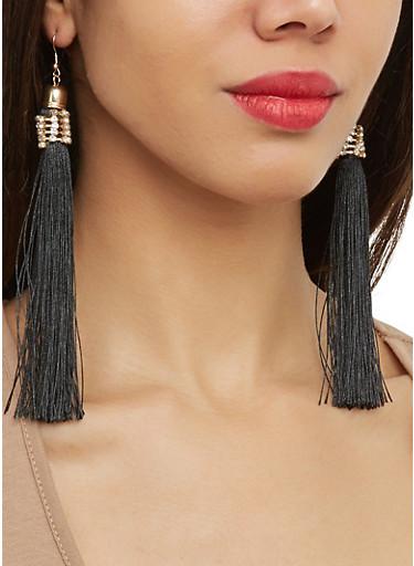 Rhinestone Tassel Earrings,BLACK,large