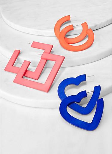 Geometric Earring Trio,PINK,large